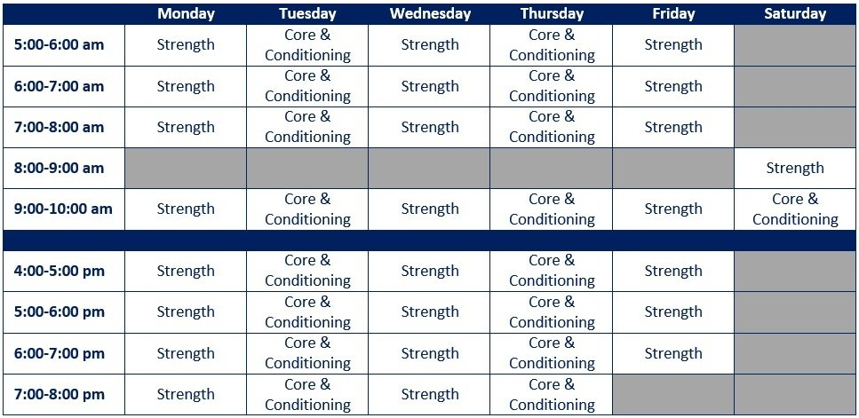 Weekly Group Training Schedule